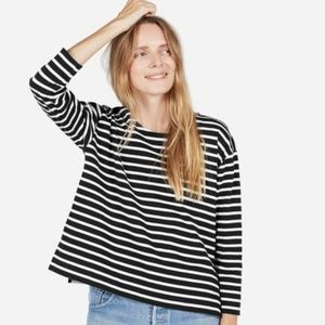 Everlane Boxy Heavy Cotton Striped Long Sleeve Tee